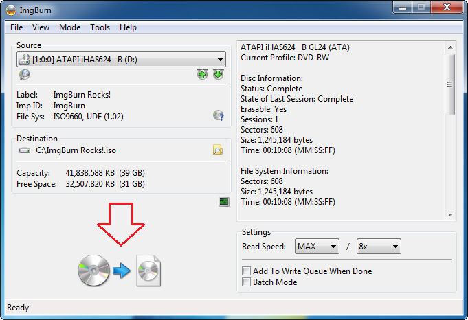 How to creat ISO image file from DVD